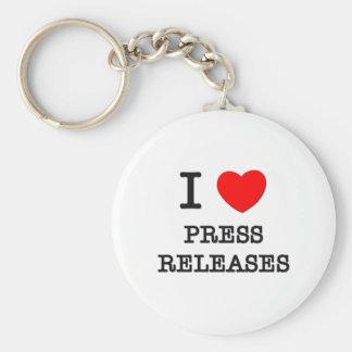 Amo comunicados de prensa llavero redondo tipo pin