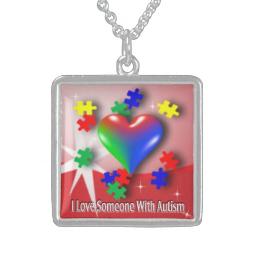 Amo con el collar de la plata esterlina del autism