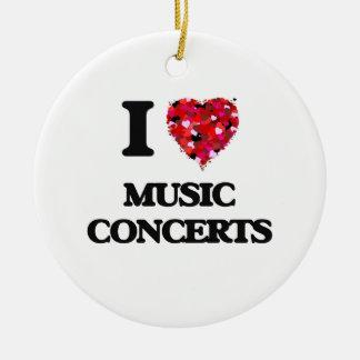 Amo conciertos de la música adorno navideño redondo de cerámica