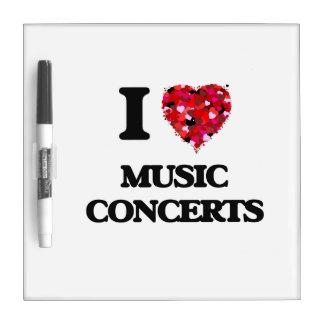 Amo conciertos de la música tableros blancos