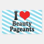 Amo concursos de belleza rectangular pegatina
