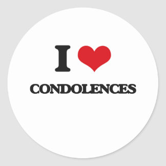 Amo condolencias pegatina redonda