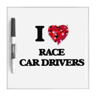 Amo conductores de coche de carreras pizarras blancas de calidad