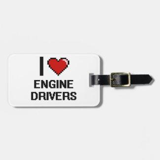 Amo conductores de motor etiquetas de maletas