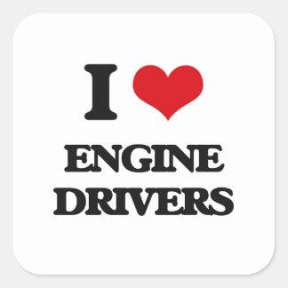 Amo conductores de motor calcomania cuadradas personalizadas