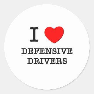Amo conductores defensivos etiqueta redonda