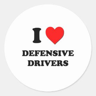 Amo conductores defensivos pegatina redonda