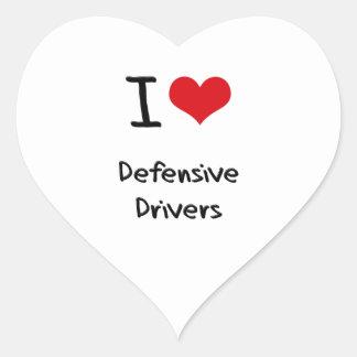 Amo conductores defensivos calcomanías de corazones personalizadas