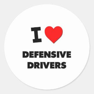 Amo conductores defensivos pegatinas redondas