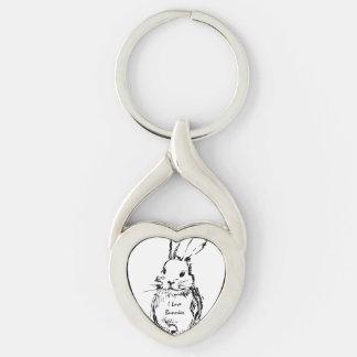 Amo conejitos llavero plateado en forma de corazón