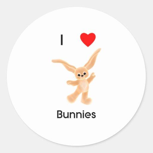 Amo conejitos pegatina redonda