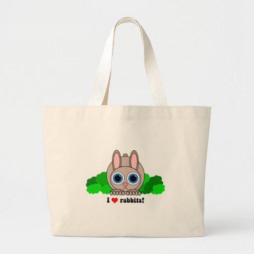 Amo conejos bolsa de mano
