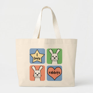 Amo conejos bolsa tela grande