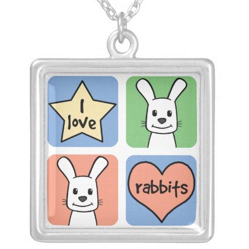 Amo conejos colgante cuadrado