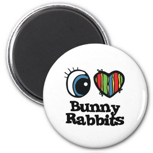 Amo conejos de conejito (del corazón) iman para frigorífico