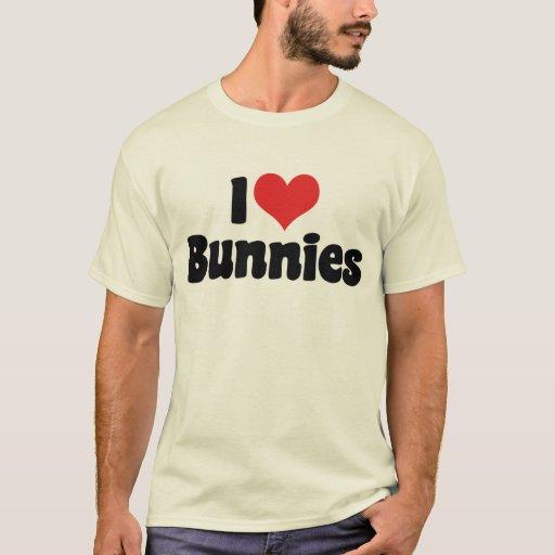 Amo conejos de conejito del corazón playera