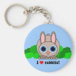 Amo conejos llaveros personalizados