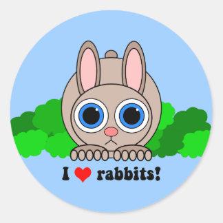 Amo conejos etiqueta redonda