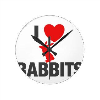 Amo conejos reloj redondo mediano