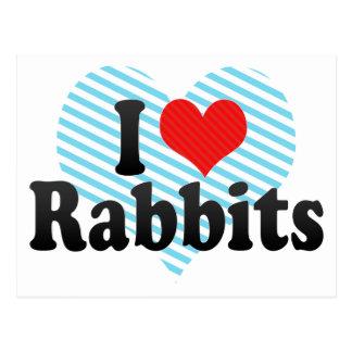 Amo conejos tarjetas postales