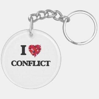 Amo conflicto llavero redondo acrílico a doble cara