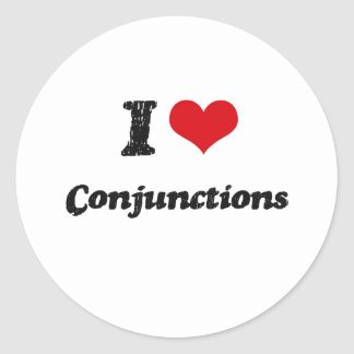 Amo conjunciones pegatina redonda
