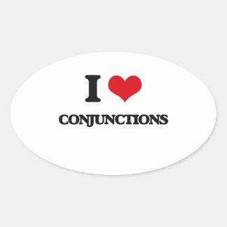 Amo conjunciones calcomania de ovaladas
