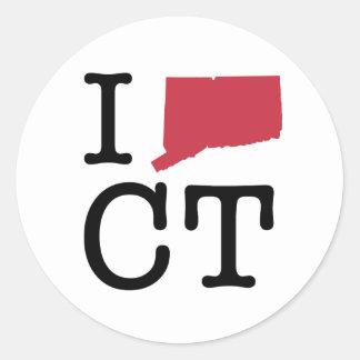 Amo Connecticut Pegatina Redonda