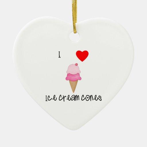 Amo conos de helado adorno de cerámica en forma de corazón
