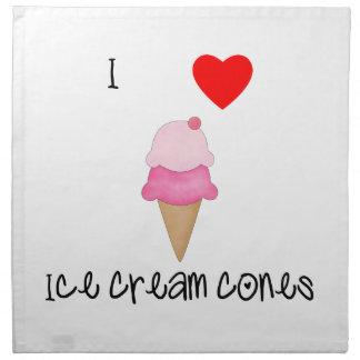 Amo conos de helado servilletas