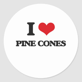 Amo conos del pino pegatina redonda