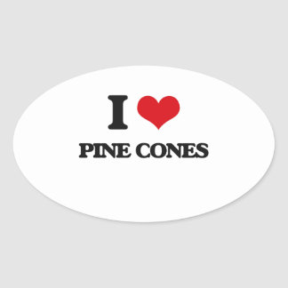 Amo conos del pino pegatina ovalada