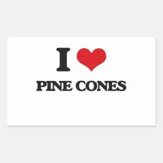 Amo conos del pino pegatina rectangular