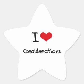 Amo consideraciones colcomanias forma de estrella personalizadas