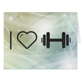 Amo constructores de la pesa de gimnasia tarjeta de felicitación grande