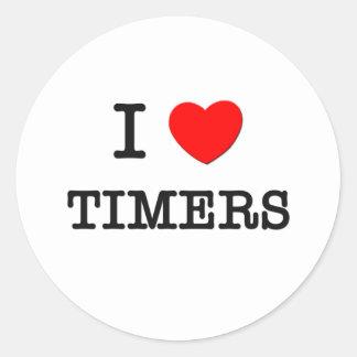 Amo contadores de tiempo pegatinas redondas