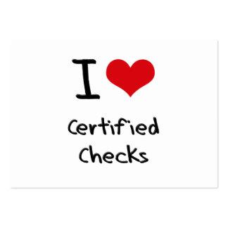 Amo controles certificados tarjetas de visita grandes