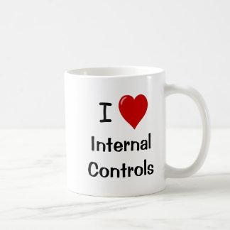 Amo controles internos del corazón de los taza clásica