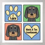 Amo Coonhounds negros y del moreno Impresiones