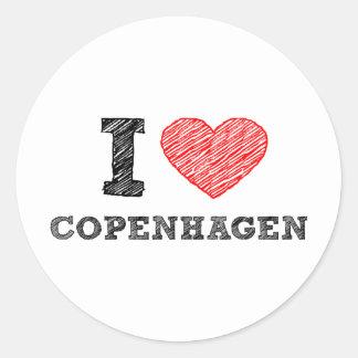 Amo Copenhague Pegatina Redonda
