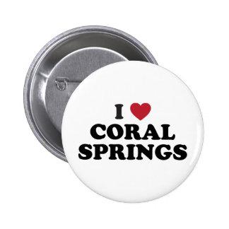 Amo Coral Springs la Florida Pin Redondo De 2 Pulgadas