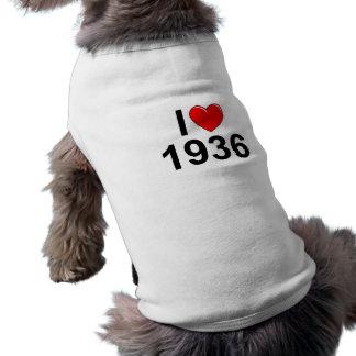 Amo (corazón) 1936 playera sin mangas para perro