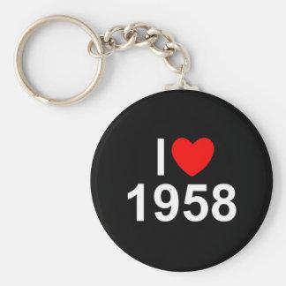 Amo (corazón) 1958 llavero redondo tipo pin