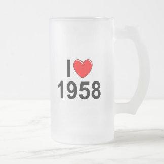 Amo (corazón) 1958 taza de cristal