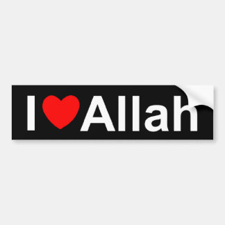 Amo (corazón) a Alá Pegatina Para Auto