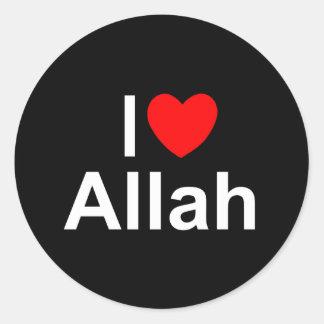 Amo (corazón) a Alá Pegatina Redonda