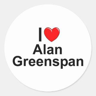 Amo (corazón) a Alan Greenspan Pegatina Redonda