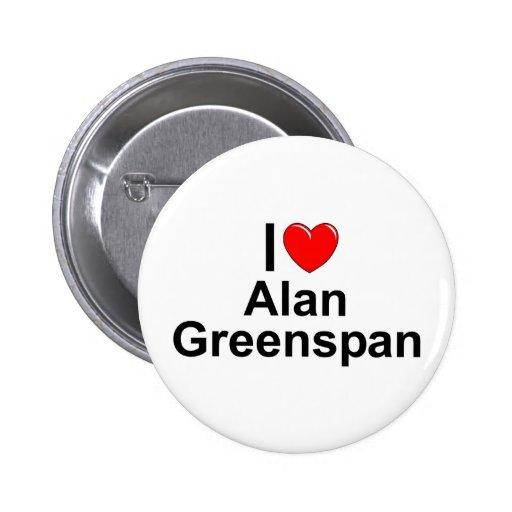 Amo (corazón) a Alan Greenspan Pin Redondo 5 Cm