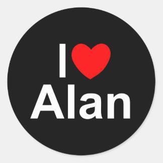 Amo (corazón) a Alan Pegatina Redonda