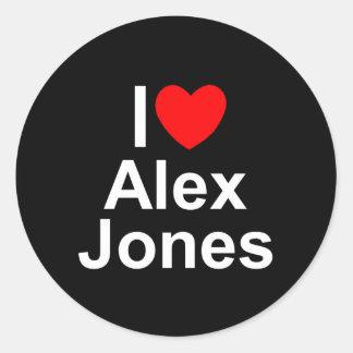 Amo (corazón) a Alex Jones Pegatina Redonda